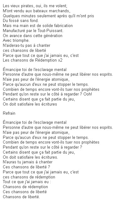 Traduction FR redemption song