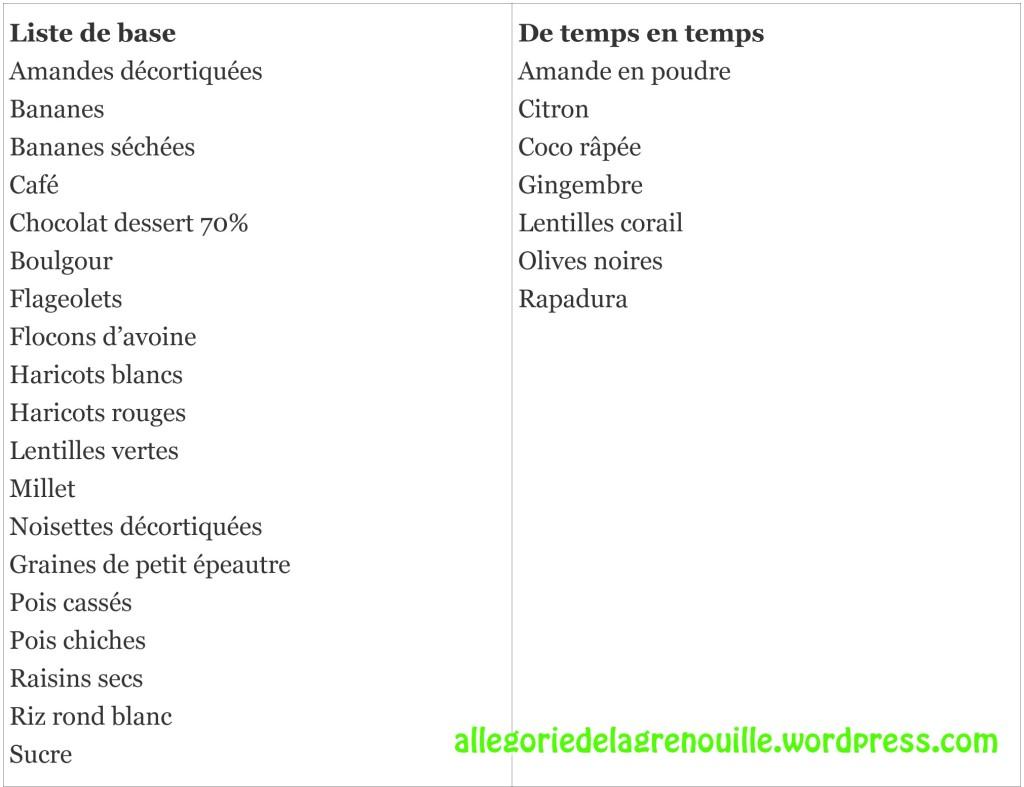 liste produits secs vrac