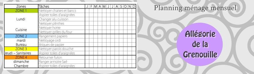 Planning ménage Zones mensuelles
